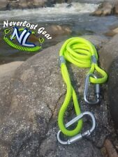 Kayak Drag Rope Tow Rope Neverlost Gear Lime Green 8ft w/ 2 Locking Carabiners