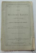 Booklet For The Western Lancet  Clinical Medicine & Surgery 1877 Original