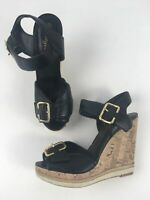 WOMENS NEW LOOK BLACK FAUX LEATHER BUCKLE STRAPS HIGH WEDGE HEEL SANDALS UK 5