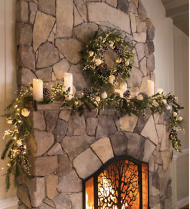 Plow & Hearth Winter White Faux Holiday Garland & White-tipped Evergreens - New!