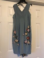 BCBG Silk Tea Dress Blue Floral Embroidered 4 Wedding British Royal Party Roses