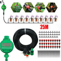 UK 25M Automatic Micro Drip Irrigation Watering Plant Greenhouse System + Timer