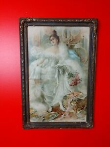 AMERICAN BEAUTY Antique Lithograph Victorian Aristocrat Lady Original Wood Frame