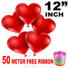 50 Latex Love Heart Shape Balloons Red Colour Birthday Wedding Mother Day