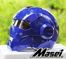 Masei 610 Full BLUE Atomic-Man Motorcycle Bike NCAA NFL Chopper Shoei Helmet