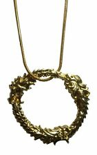 Elder Scrolls Skyrim Ouroboros Dragon Gold Color Metal Pendant Necklace
