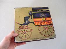 ancienne boite métal biscuits FABIS décor voiture de commerce cookies tin box