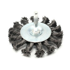 "75mm Flat Twist Knot Wire Brush Wheel For Deburring Rust Paint Removal 1/4""Shank"
