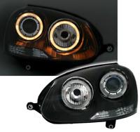 BLACK ANGEL EYE HEADLIGHTS HEADLAMPS FOR VW GOLF MK5 MK 5 & JETTA 3