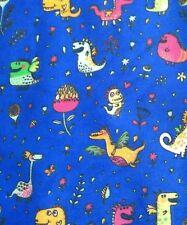 DINOSAUR and DRAGONS PRINT CUTE KIDS navy cotton mix fabric/PER METRE/