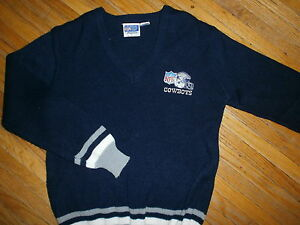 vtg 1970s 1980s DALLAS COWBOYS SWEATER by STARTER Embroidered Logo NFL V-Neck SM