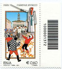 2011 francobollo Folclore: Carnevale di Ivrea CON CODICE A BARRE 1372
