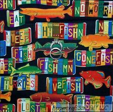 BonEful Fabric FQ Cotton Quilt VTG Rainbow Red Trout Fly FISH Log Cabin Hunt Man