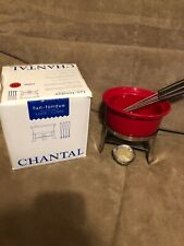 Chantal Ceramic Fondue  .7 Liters (3 Cups) Stainless Steel Stand  Red