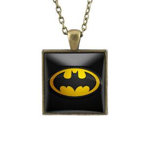 Vintage Batman Square Shape Glass Cabochon Time Pendant Necklace Bronze Chain