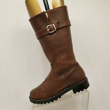 Martino Brown Leather Buckle Knee High Fashion Boots Size 7 M Style 94142