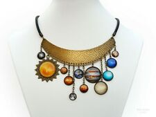 Solar System Handmade Bib Necklace Planet Science Jewelry Space Galaxy Universe