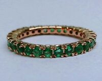 R122 Genuine 9ct SOLID Rose Gold NATURAL Emerald FULL Eternity Ring Band size M