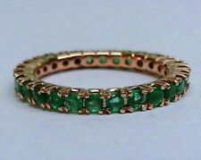 R122 Genuine 9K SOLID Rose Gold NATURAL Emerald FULL Eternity Ring Band size M
