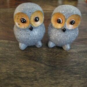 """2 Matching Owl Figurines Garden Decor Bird Statues Owls 3""""tall book ends birds"""