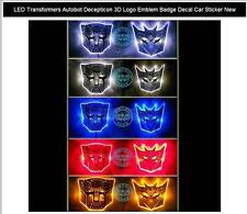 LED Transformers Autobot Decepticon 3D Logo Emblem Badge Decal Car Sticker