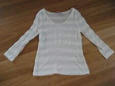 LADIES CUTE GREEN & WHITE STRIPED  3/4 SLEEVE LIGHT KNIT TOP BY NEXT - SIZE 8