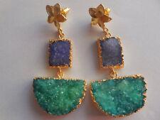 Quartz Earrings Edge Gold Druzy Natural Bead Jewelry Unique Fashion Jewelry