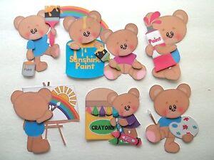 3D-U Pick - SG5 School Bears Boy Girl Rainbow Paint Card Scrapbook Embellishment