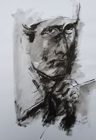 Lysiane D. COSTE drawing on paper dessin sur papier encre ink portrait 32/46cm
