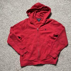 Polo Ralph Lauren Sweater Boys Red Zip Up Cotton Hoodie L 14 16