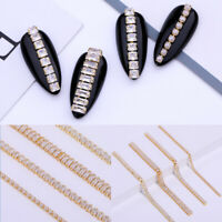 10cm Length Metal Chain Striping Ball Nail Beads Gold Pearl 3D Nail Art Decor