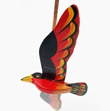 Wooden bird Flapping flying Mobile, Handmade and Painted Red bird Hanging Décor