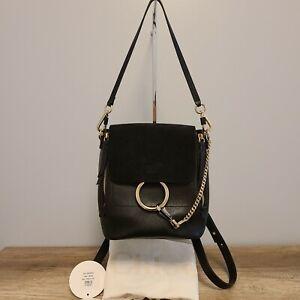 Chloe Medium Faye Backpack Black Leather Authentic!