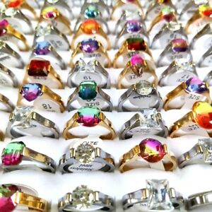 30pcs Mix lot of Women's Silver Gold Stainless Steel Crystal Stone Charm Rings