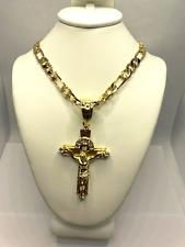 """Cadena y Cruz de oro laminado 28"""" Gold Plated Cross & Chain, Men`s crucifix"""