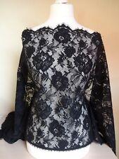 Wunderschöner Stoff fransösische  Spitze aus Calais schwarz 60cm breit(35.98€/m)