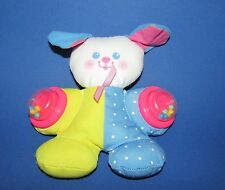 """Fisher Price Vintage Puppy Dog Rattle Plush Blue dot Yellow pink ears 1994 7"""""""