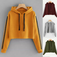 Women Long Sleeve Hoodie Sweatshirt Jumper Hooded Pullover Crop Tops Blouses Hot