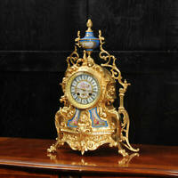 Sevres Porcelain and Gilt Bronze Antique French Clock by Vincenti