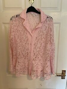 Pink Lace Pattern Changes By Together Blouse Shirt Size 16 (A8003)
