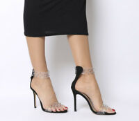 Womens Office Hypnotic Transparent Studded Heels Black Heels