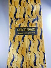 "Best Offer Today! Giorgio Bissoni Gold Blue Waves Silk 58.5"" x 4"" Men's Neck Tie"