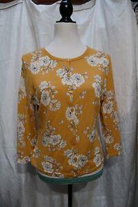 Garnet Hill Women's Medium Mustard/Navy/Cream Cardigan Sweater, 100% Merino Wool