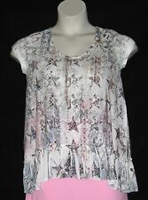 RUFFLED BABY DOLL TOP – TIE CLOSURE - WHITE PINK BLUE – SIZE L – NEW $32