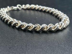 """Sterling Silver stunning Vintage Solid Rollerball Link Bracelet 7.5"""" Hallmarked"""