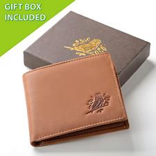 Wallet for Men RFID Blocking genuine brown leather (Light brown) Men's Gift
