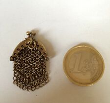 BOURSE DOLL PURSE MINIATURE POUPEE CHATELAINE OLD  ACCESSORY  1900 LAITON 2 cm