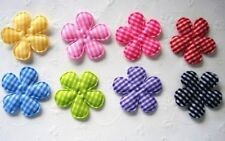 """90 Mix Gingham Check Fabric Flower 1.5"""" Applique/trim/bow/sewing/checker L23"""