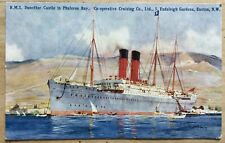 ANTIQUE ARTIST SIGNED PC RMS DUNOTTAR CASTLE PHARELON BAY GREECE C.DIXON