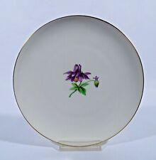 KPM Berlin Urbino Teller Dm 19 cm altweiss bemalt Blume Akelei Porzellan 1. Wahl